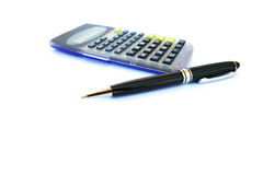 Calculator and pen Stock Photography