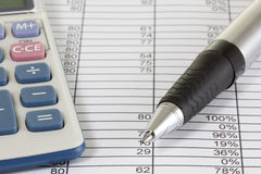 Calculator and Pen Royalty Free Stock Image