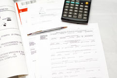 Calculator , pen Stock Photography