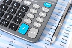 Calculator and pen. Accounting concept. Calculator and pen Stock Images