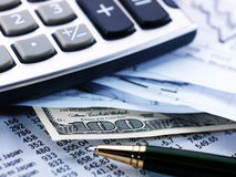 Calculator, Pen, Cash, Charts Royalty Free Stock Images
