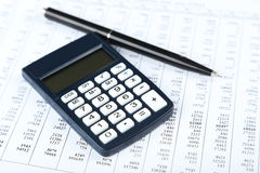Calculator with pen close up Royalty Free Stock Photography