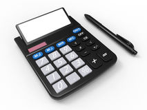Calculator and a pen. 3D render illustration of a calculator and a pen. The composition is  on a white background with shadows Stock Photo
