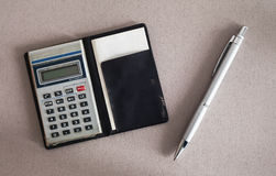 Calculator An Pen Stock Photos