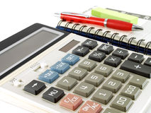 Calculator with pen and diary planner Stock Photos