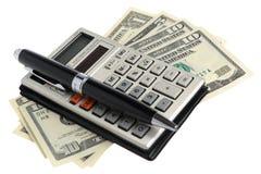 Calculator, pen, dollars Stock Fotografie