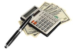 Calculator, pen, dollars. On a white background Stock Photography