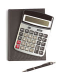 Calculator, pen en agenda Stock Afbeeldingen
