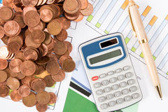 Calculator,pen and  Euro cents on paperwork Royalty Free Stock Images