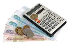 Calculator, pen, geld Royalty-vrije Stock Foto