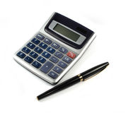 Calculator with pen isolated Royalty Free Stock Photos