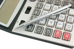 Calculator and pen isolated Royalty Free Stock Photo
