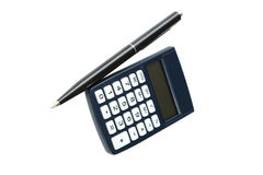 Calculator with pen isolated on white Royalty Free Stock Images
