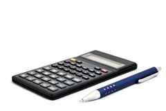 Calculator with pen isolated on white background. Calculator with pen isolated on white Stock Photos