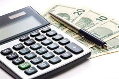Calculator, pen and money isolated Stock Image