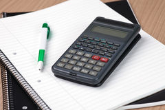 Calculator,pen and notebook Royalty Free Stock Photography