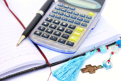 Calculator, pen and notebook Royalty Free Stock Photography