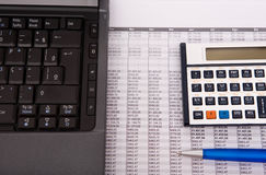 Calculator, pen and notebook Stock Photography