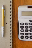 Calculator and pen Royalty Free Stock Photos