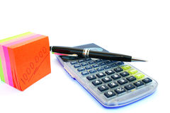 Calculator, pen and paper royalty free stock photo