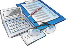 Calculator, Pen and Papers royalty free stock image