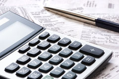 Calculator, pen, receipts Royalty Free Stock Photography