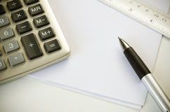 Calculator pen and ruler Royalty Free Stock Images