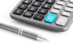 Calculator and pen. Royalty Free Stock Photo