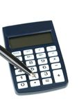 Calculator with pen on white Stock Photos