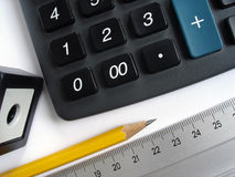 Calculator and pencil Royalty Free Stock Photography