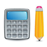 Calculator and Pencil Stock Images