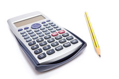 Calculator and pencil Royalty Free Stock Photos