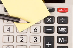 Calculator,pencil and blank notepaper Stock Photography