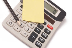 Calculator,pencil and blank notepaper Stock Photo