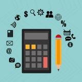 Calculator pencil buy shop Royalty Free Stock Photos