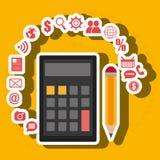 Calculator pencil buy shop Stock Photo