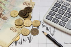 Calculator, pencil, coins and banknotes. Dow Jones index. Currency rates on Forex Royalty Free Stock Images