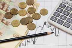 Calculator, pencil, coins and banknotes. Dow Jones index. Currency rates on Forex Stock Images
