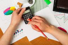 Calculator and pencil in female hands on background of desktop. Stock Images