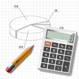 Calculator, pencil and graph. On notebook sheet Royalty Free Stock Photography