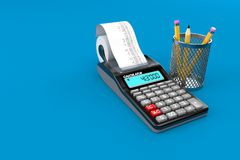 Calculator with pencil. Isolated on blue background. 3d illustration Stock Images
