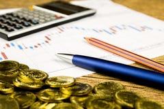 Calculator,pencil and money on graffica the Dow Jones Stock Image
