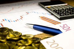 Calculator,pencil and money on graffica the Dow Jones Stock Images