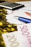 Calculator,pencil and money on graffica the Dow Jones. On forex market Stock Photography