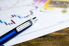 Calculator,pencil and money on graffica the Dow Jones. On forex market Royalty Free Stock Image