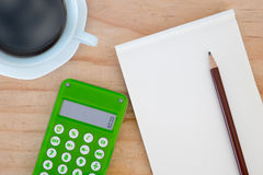 Calculator, pencil, notebook and coffee Royalty Free Stock Photo