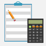 Calculator, pencil, notepad. Icon vector image. Flat design modern. Set for web and mobile applications of office work. Vector illustration Royalty Free Stock Photos