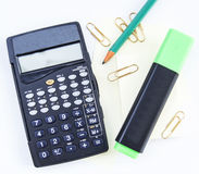 Calculator and pencil office Stock Photo