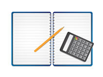 Calculator with pencil on paper Stock Image