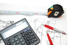 Calculator and pencils Royalty Free Stock Photography